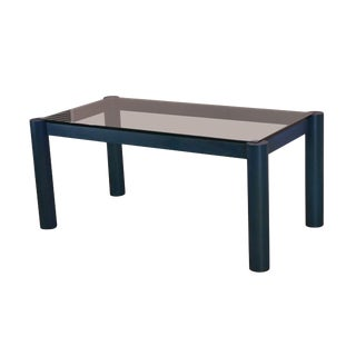 Italian Postmodern Blue Wood Base Glass Top Dining Table For Sale