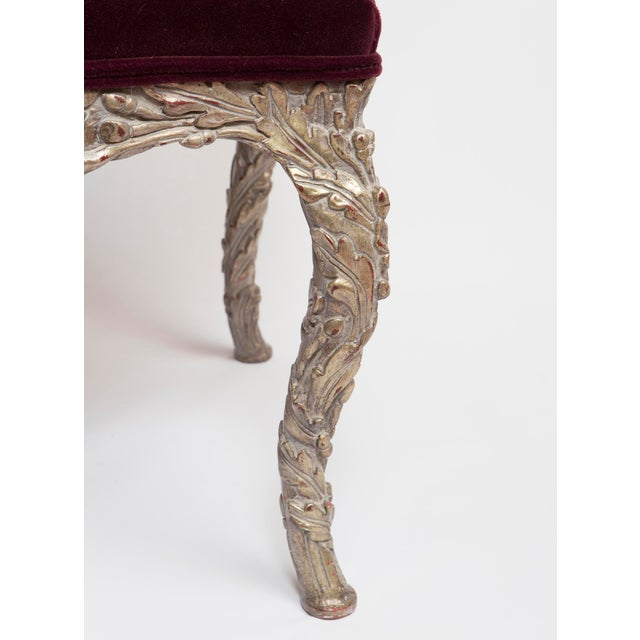 Traditional 20th Century Traditional Wood Carved Silver Gilt Painted Stools - a Pair For Sale - Image 3 of 13