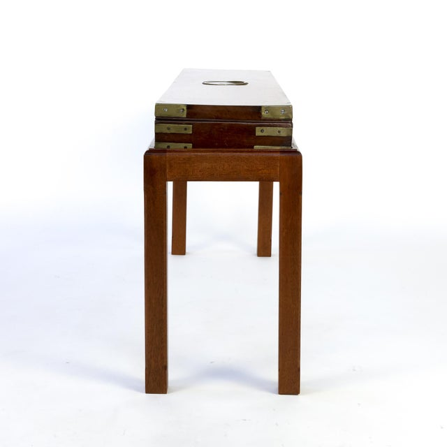 Campaign English Mahogany Campaign Gunbox on Later Mahogany Stand, Circa 1840 For Sale - Image 3 of 10