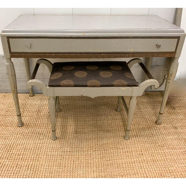 Antique Art Deco Desk, Vanity, Mirror and Chair, Signed Luce Furniture For Sale - Image 4 of 13