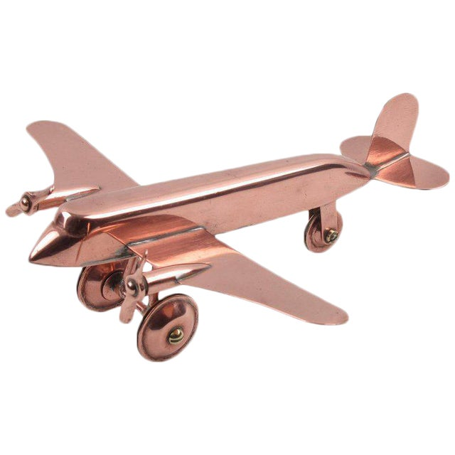 Mid-Century Modern Copper Airplane Model - Image 1 of 11