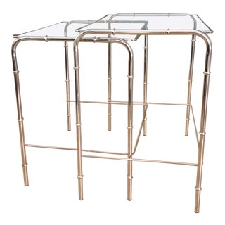 Hollywood Regency Glass & Brass Bamboo Nesting Tables - a Pair
