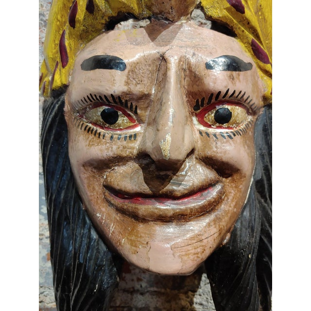 1930s Mexican Mask -Antique Painted Wood Carved For Sale - Image 5 of 9