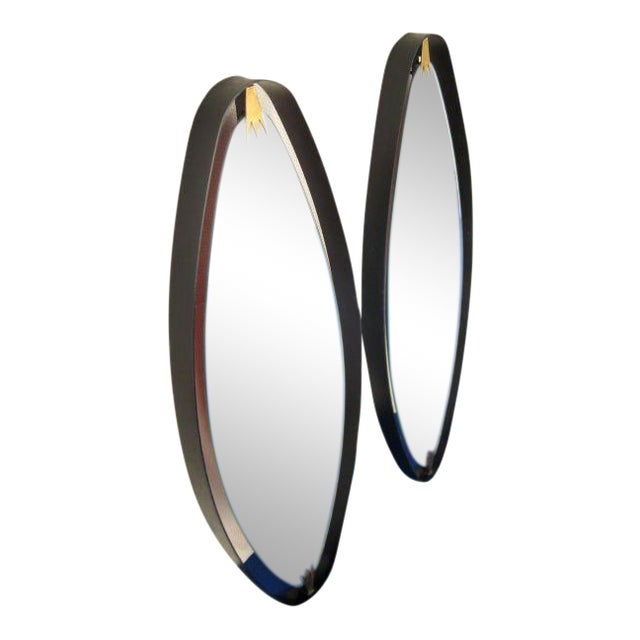 Rare Pair of Italian Oval Mirrors For Sale
