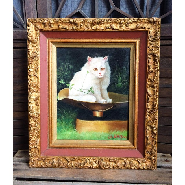 Late 19th Century Antique George De Forest Brush Cat Oil on Canvas Painting For Sale - Image 9 of 9