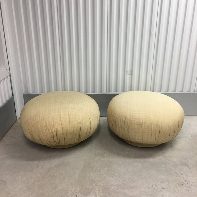 Mid-Century Modern Steve Chase Swivel Poufs/Ottomans- a Pair For Sale - Image 3 of 6