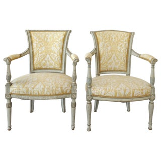 Antique Swedish Painted Armchairs With Fortuny Fabric - a Pair For Sale