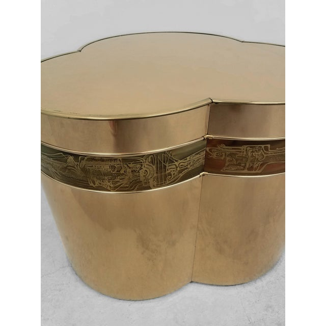 1970s Bronze Trefoil Side or Coffee Table Base by Bernhard Rohne for Mastercraft For Sale - Image 5 of 6
