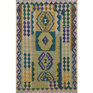 Kilim Alma Hand-Woven Wool Rug - 3′7″ × 5′ For Sale