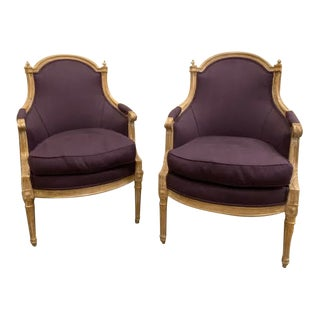 Early 20th Century Purple Pierre Frey Linen Louis XVI Chairs - A Pair For Sale