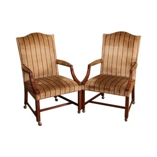 Baker Vintage Chippendale Style Pair Library Armchairs (A) For Sale