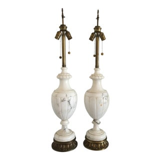 1940s White Italian Marble Lamps - a Pair For Sale