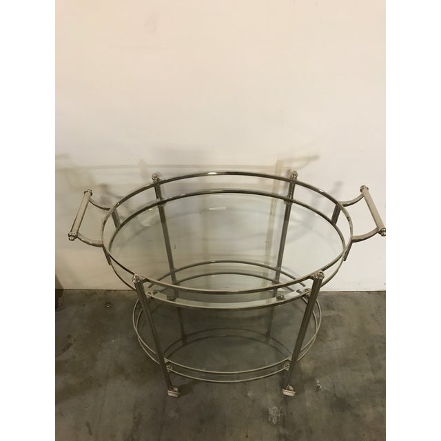 Polished Nickel Two Tier Bar Cart For Sale - Image 4 of 6