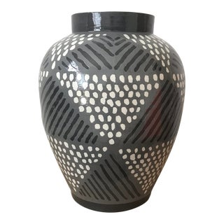 "Roy Hamilton for Steve Chase Gray ""Triangles"" Vase For Sale"
