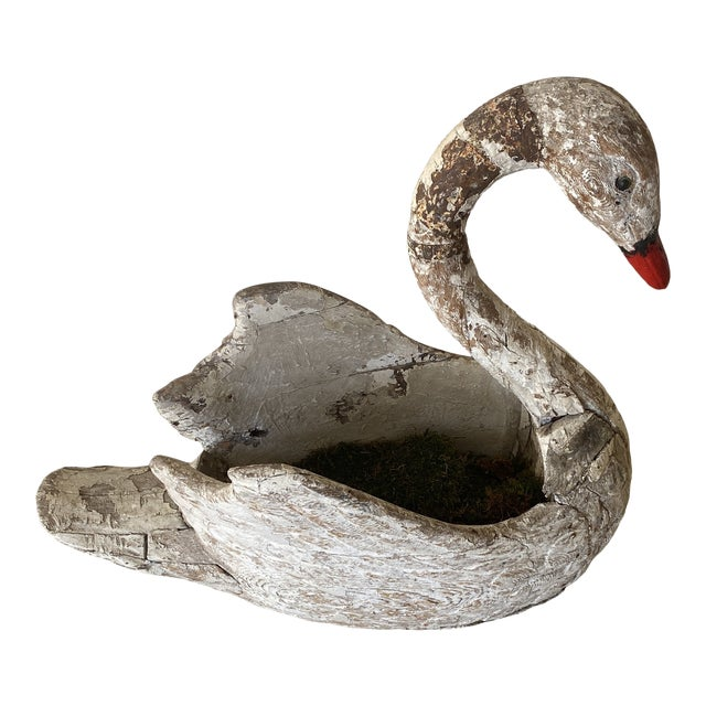 French Carved Swan Statue by Gustav Boyal For Sale