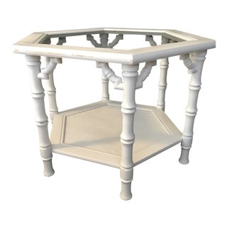 20th Century Chinoiserie Mersman Faux Bamboo Side Table For Sale