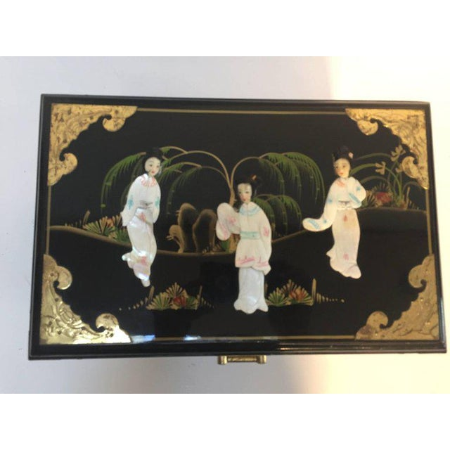 Black Lacquered Chinese Jewelry Box With Mother-Of-Pearl Overlay For Sale - Image 9 of 10