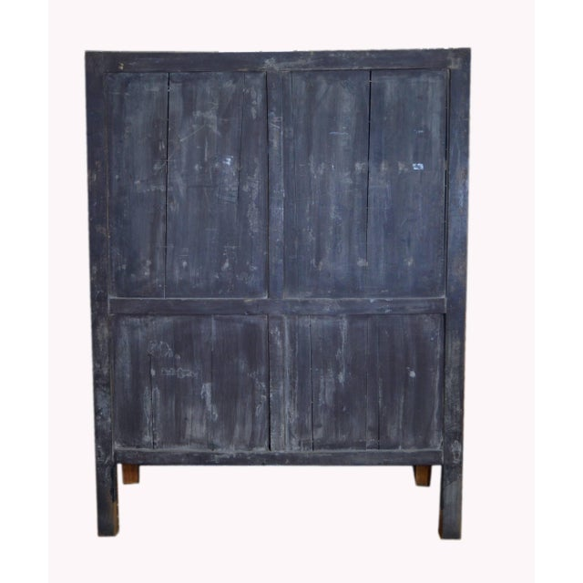 Brown Antique Chinese Lacquered Cabinet With Doors, Drawers and Brass Hardware For Sale - Image 8 of 9