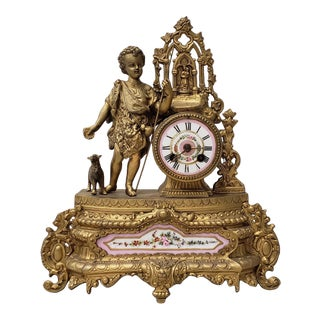 19th C. French Mantle Clock With Young Shepherd & Porcelain Mounts For Sale