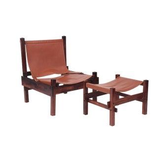 Rare Jorge Zalszupin Chair and Ottoman For Sale