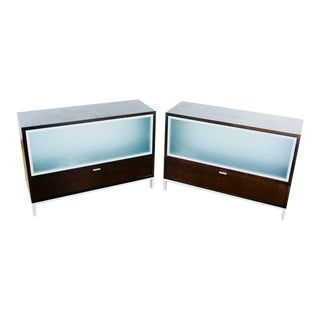 Singleton Contemporary Laminate & Metal Console Cabinets - A Pair