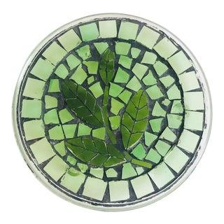 Vintage Mosaic Glass Leaf Trivet For Sale