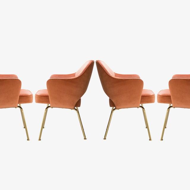 Eero Saarinen Saarinen Executive Arm Chairs in Rust Velvet, 24k Gold Edition For Sale - Image 4 of 8
