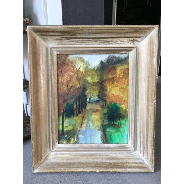 Impressionism Vintage Framed Fall Park Scene Watercolor For Sale - Image 3 of 5