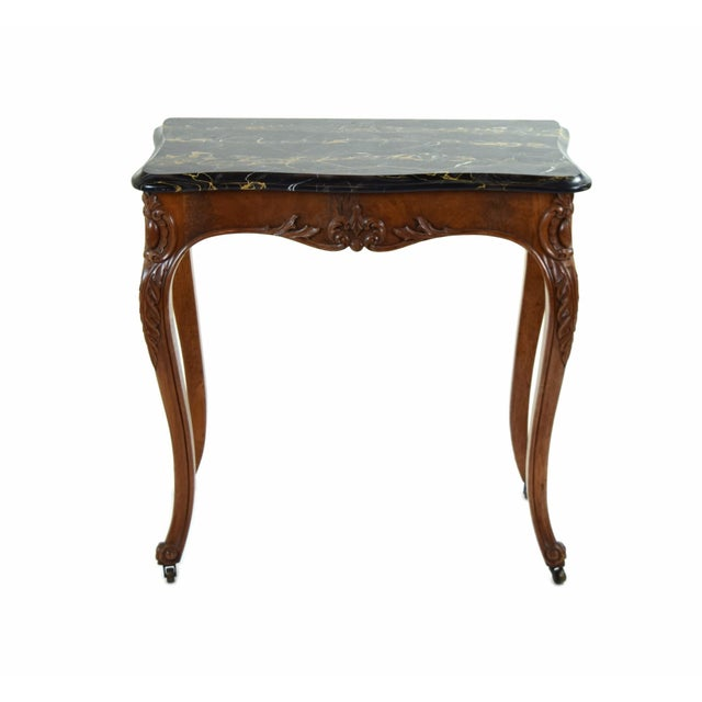 Lovely antique French Louis XV style console or hall table. Lovely figured marble scallop shaped top with molded edges....