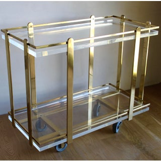 Extremely Rare Karl Springer Custom Ordered Mid Century Modern Heavy Brass and Lucite Bar Serving Cart Table Preview