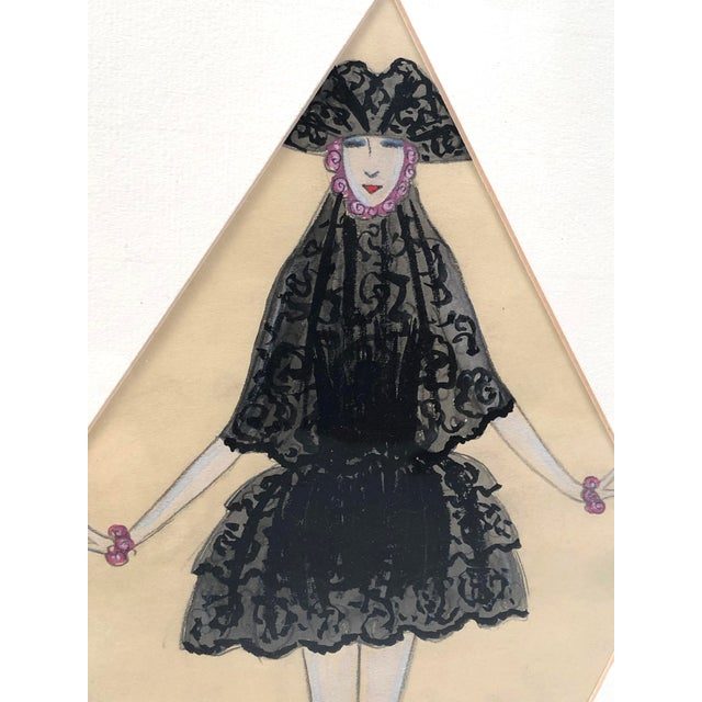 Black Art Deco Period Fashion Costume Drawing of Venetian Woman For Sale - Image 8 of 10