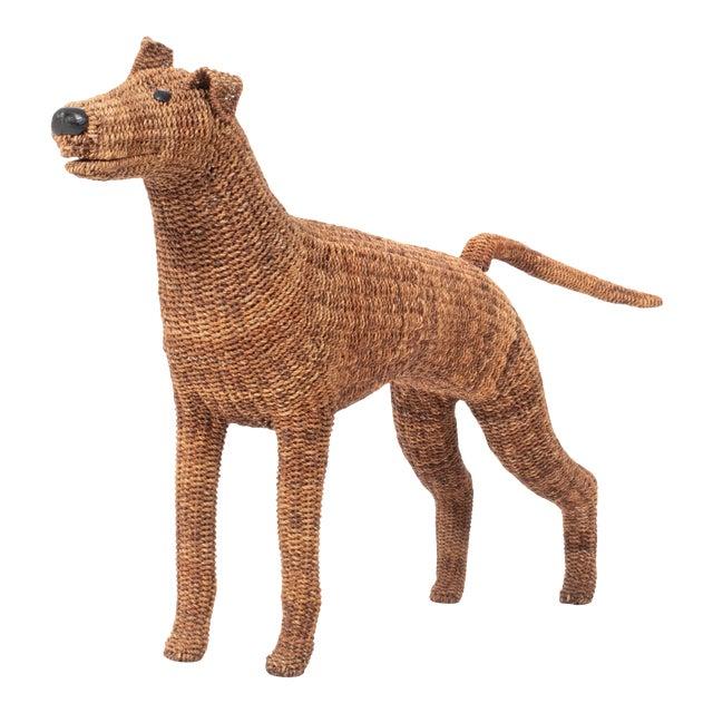 Vintage Wicker Figurine Dog For Sale