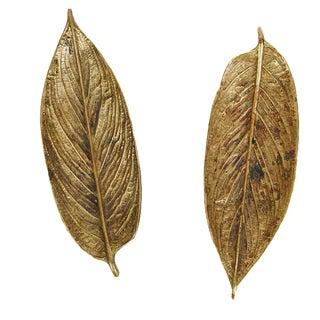 Large Vintage Brass Calathea Leaves - A Pair