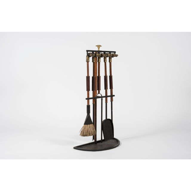 1950s Rare Fireplace Tools by Jacques Adnet For Sale - Image 5 of 10