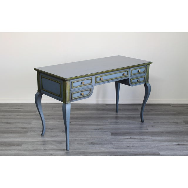Mid Century Blue Painted Desk For Sale - Image 4 of 10