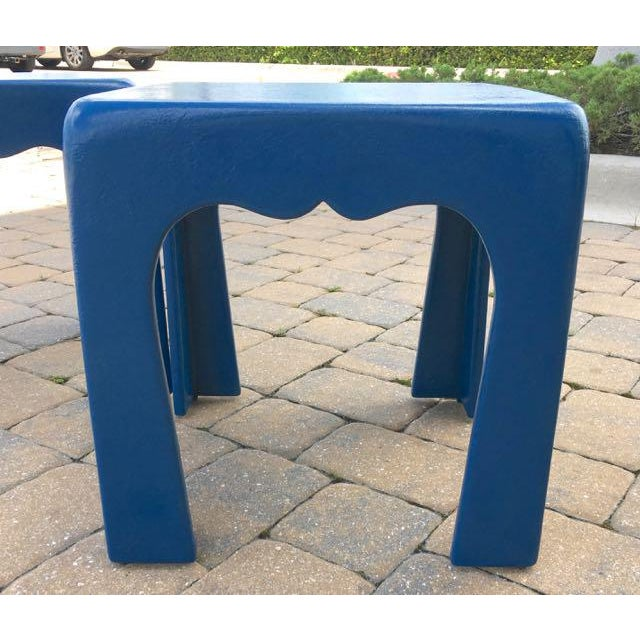 Islamic Vintage Blue Fiberglass Occasional Tables - A Pair For Sale - Image 3 of 13