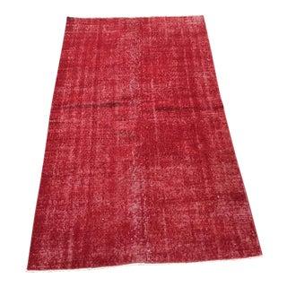 Vintage Red Turkish Area Rug For Sale