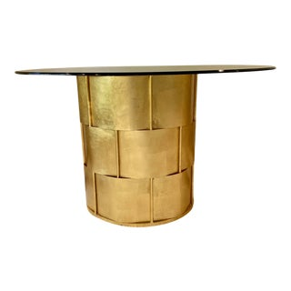 Worlds Away Gold Leaf Basketweave Dining Table For Sale