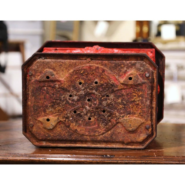 19th Century English Red Painted Cast Iron Mailbox With Relief Decor For Sale - Image 9 of 10