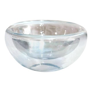 1960s Hand Blown Scandinavian Clear Art Glass Open Bottom Bowl Within a Bowl For Sale