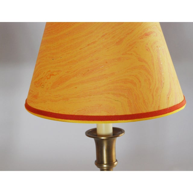 Vintage Brass Desk Lamps & Marble Shades - Pair - Image 5 of 6