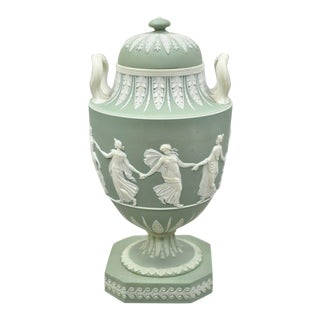 Wedgwood Lidded Double Handle Urn With Dancing Figures For Sale