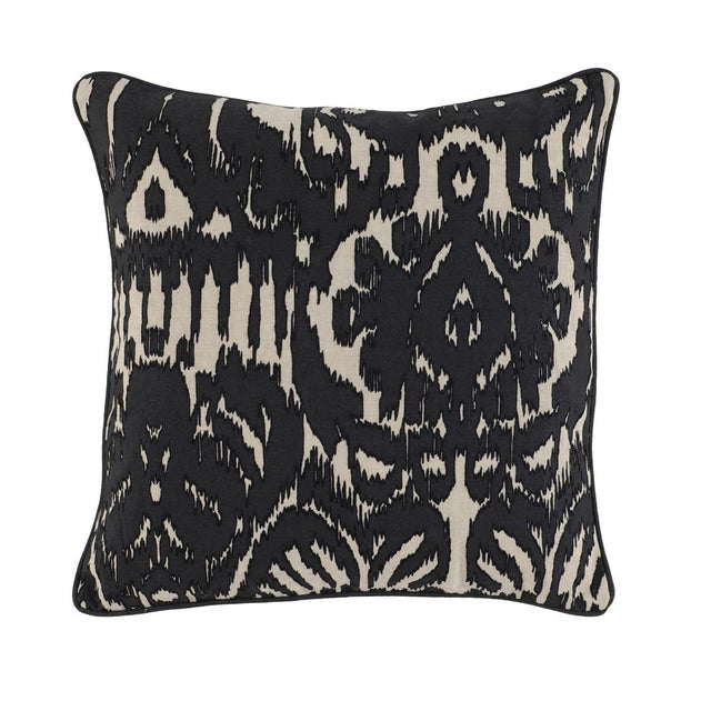"Linen pillow with black abstract design and piping around edges. 22"" x 22""."