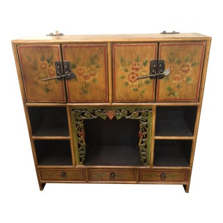 19th Century Asian Antique Kuang Hsu Table Top Taboret Hanging Cabinet For Sale