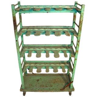 Industrial Wood Shoe Rack Shelf For Sale