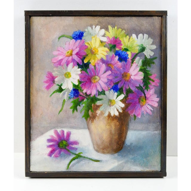 Farmhouse Pink & White Daisy Still Life Painting For Sale - Image 3 of 4