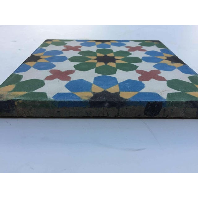 Moroccan 1990s Moroccan Hand-Crafted encaustic Cement Tile with Traditional Fez Moorish Design - Set of 56 For Sale - Image 3 of 13