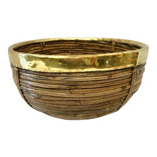 Italian Pencil Bamboo With Brass Rim Bowl For Sale