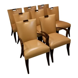 "Modern Berman Rosetti Leather ""Filly"" Dining Chairs- Set of 8 For Sale"