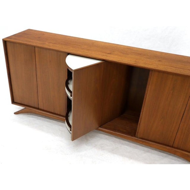 Swivel Centre Bar Walnut Mid-Century Modern Credenza Sideboard Sculptural Legs For Sale - Image 4 of 13